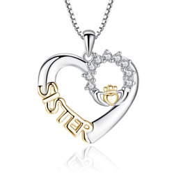Women Heart-shaped Sister Gift Chain Inlaid Zircon Crown Style Pendant Necklace