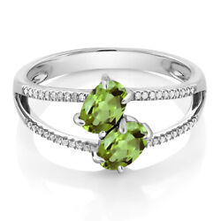 10K White Gold 1.28 Ct Green Peridot Two Stone Engagement Ring