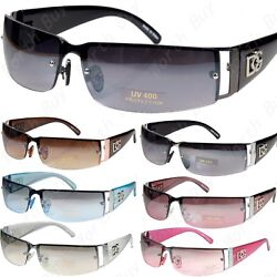 WB Mens Women Rectangular Rimless Designer Sunglasses Shades Fashion Wrap Around