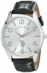 U.S. Polo Assn. Classic Men's USC50224 Silver-Tone Watch with Black Faux Leat...