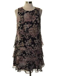 American Living 7849 Size 6 Womens NEW Black Printed Shift Dress Tiered $79