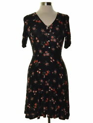 American Rag 8804 Size Small S Womens NEW Black Printed Shift Dress Ruched $44