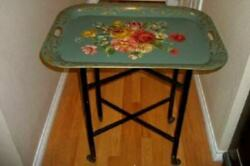 ANTIQUE TOLE TRAY TEA CART TABLE HANDLES ROLLING FOLDING HP ROSES 1930#x27;s Lg $309.99