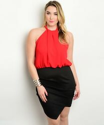 Sexy Red Black Short Party Cruise Cocktail Plus Size Dress XL 2XL or 3XL $29.99
