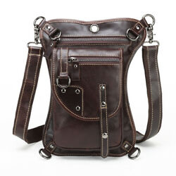 Vintage Leather Outdoor Drop Leg Bag Motorcycle Tactical Thigh Waist Fanny Pack