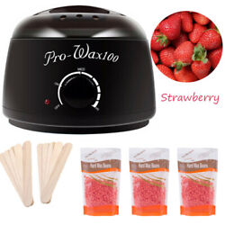 Hot Wax Warmer Heater Pot Machine Kit Salon Spa Hair Removal + 300g Waxing Bean