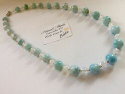Amazing handcrafted AAA Larimar Cracked Crystal Necklace 925 silver 21 inches
