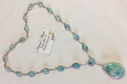 Amazing   handcrafted AAA Larimar  Necklace 925 silver  #N56