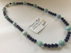 Amazing handcrafted AAA Larimar Lapis Necklace 925 silver