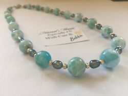 Amazing handcrafted AAA Larimar Freshwater Pearl Necklace 925 silver  18 inches