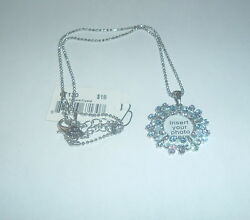 COOKIE LEE CRYSTAL PHOTO NECKLACE SKY BLUE #67130 NWT PRETTY!
