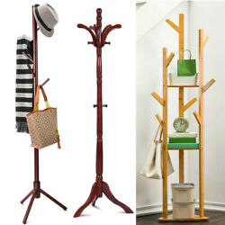 Wooden Standing High-Grade Hat Coat Rack Jacket Bag Hanger Tree Hanging Stand US