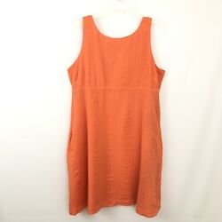 J. Crew Womens Size 16 Orange Cotton Shift Embossed Beach Dress