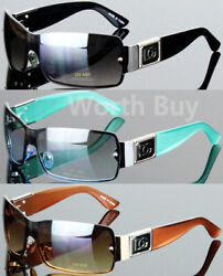 New Womens Mens Shield Designer Fashion Sunglasses Wrap Around Shades Rimless