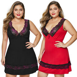 Women's Deep V Plus Size Babydoll with Lace Detail Sleepwear Dress Lingerie