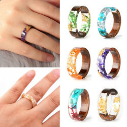 Handmade Clear Wood Resin Ring Dried Flower Epoxy Finger Rings Size 17-21mm