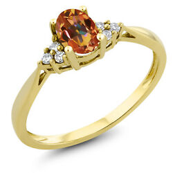 0.50 Ct Oval Ecstasy Mystic Topaz and Diamond 14K Yellow Gold Ring