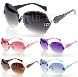 New Womens Sunglasses Shades Fashion Designer Rimless Round Hexagon Large Wrap