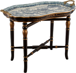 NEW PORCELAIN BRONZE BLUE WILLOW TRAY TABLE CHINESE ORIENTAL BLUE WHITE $840.00