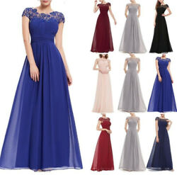 Women#x27;s Long Chiffon Lace Dresses Evening Party Ball Gown Prom Bridesmaid Dress $24.99