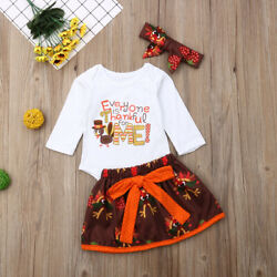Newborn Baby Girls Thanksgiving Outfits Long Sleeve Turkey Romper Tutu Dresses