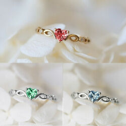 Charm Ladies Colorful Rhinestones Hollow Rings Women Engagement Ring Size 4-14