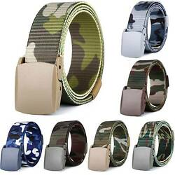 Mens Military Webbing Canvas Buckle Waist Belt Waistband Tactical Army Straps