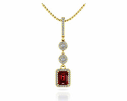 1.99ctw Emerald Cut Ruby and Diamond Triple Drop Pendant Necklace-14K Gold