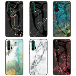 For Huawei Honor 20 9X Pro 10 9 8X marble Hybrid Case Tempered Glass Slim Cover
