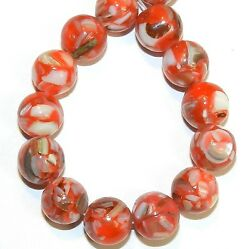 MP731 Red 10mm Round Mother of Pearl Shell & Resin Gemstone Beads 16