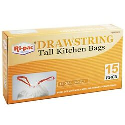 Pack of 6 RiPac Kitchen Bags Drawstring 13 Gallon 15ct $19.99