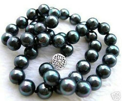 10mm Bright Black Akoya Cultured Shell Pearl Round Beads Necklace 18