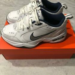 MENS AIR MONARCH IV TRAINING SHOES WHITENAVY SIZE 12 MEDIUM 415445-102 NEW