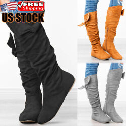 Womens Flat Suede Mid Calf Boots Ladies Casual Zipper Knee High Boots Shoes Size