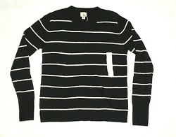 A New Day Womens Black & White Stripe Long Sleeve Pullover Sweater Size XS NWT
