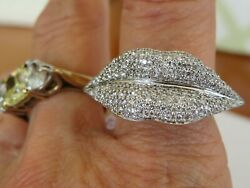 18K WHITE GOLD 1.80 CT VS1 F DIAMOND LADIES LIPS DESIGNER RING 12 X 30 MM