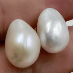 Fashion Mabe White Baroque Pearl 18K Gold Earrings Bead Ma Bei Cultivation