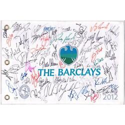 PGA Stars Autographed The Barclays Pin Flag with Multiple Signatures JSA