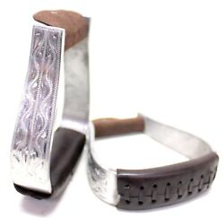 D.A. Brand Engraved Aluminum Stirrups w Brown Leather Wrapped Treads Horse Tack