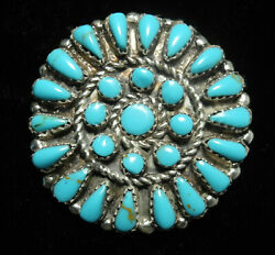 GORGEOUS OLD PAWN NAVAJO BLUE TURQUOISE & SILVER BROOCH!