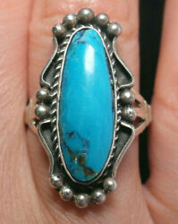 GORGEOUS OLD PAWN NAVAJO NATURAL TURQUOISE SILVER RING!