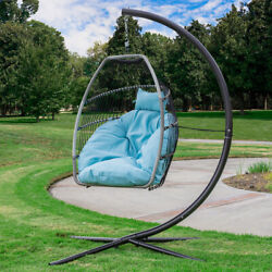 Outdoor Large Patio Hanging Egg Lounge Chair Swing Cushion Headrest Pillow Blue $199.99