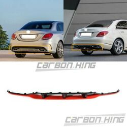Painted Black Red  Re For BENZ C W205 4D 5D A Sport Bumper Diffuer Spoiler 15-18