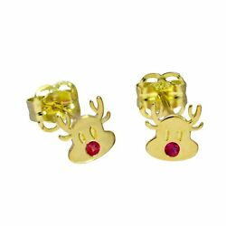 Real 375 9ct Gold & Ruby CZ Crystal Rudolph the Red Nose Reindeer Stud Earrings