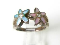 Estate Sterling Silver CZ & Mother of Pearl Ladies Ring 6.2g