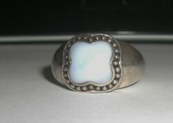 Sterling Silver Blue Mother of Pearl Ring Size 10