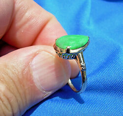 Deco Antique old Imperial green color Jadeite Jade Engagement ring 14k Gold