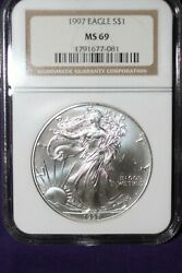 1997 AMERICAN SILVER EAGLE  ~ BETTER DATE NGC MS69 COIN