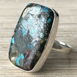 LARGE Solid 925 Sterling Silver & Azurite Ring UK Size Q US 8 Jewellery - 2801
