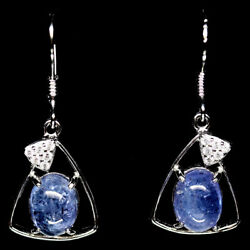 NATURAL 6 X7 mm. BLUE TANZANITE & WHITE CZ STERLING 925 SILVER EARRINGS